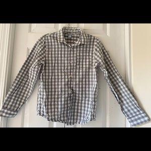 Forever 21 Boys Gray Check Button Down Shirt 11/12